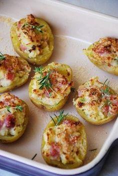 Patatas Rellenas de Jamón y Queso. Serve them with a nice fresh salad! Pinterest | https://pinterest.com/elcocinillas