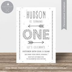First Birthday Invitation | Aztec Tribal Arrows | Black and White | Printable Invitation for Boy or Girl Party | By Sian Ashlee Design by SianAshleeDesign on Etsy https://www.etsy.com/listing/270286466/first-birthday-invitation-aztec-tribal