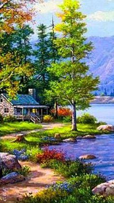 Hideaway at the lake - Art Painting Easy Landscape Paintings, Scenery Paintings, Landscape Drawings, Nature Paintings, Watercolor Landscape, Landscape Art, Landscape Photography, Nature Photography, Beautiful Paintings