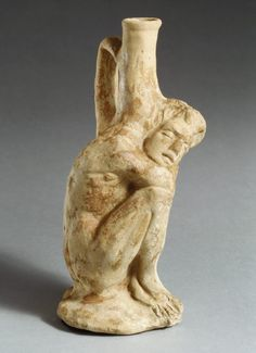 Terracotta vase in the form of a sleeping African (known as Ethiopian) boy; Hellenistic Period; ca. 3rd–2nd century B.C.; Cypriot; Terracotta, H. 20.8 cm