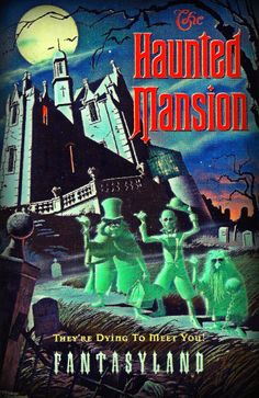 Tokyo Disneyland poster for their Haunted Mansion, which is nearly identical inside and out to the one in WDW- except that it's location is FANTASYLAND! The HM is the only Disney attn to appear in a different land in every park! Tokyo Disneyland, Disneyland Resort, Disney Dream, Disney Love, Walt Disney, Disney Theme, Tower Of Terror, Disney Rides, Disney Posters