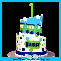 Lime Green, Navy Blue and Turquoise Polka Dot & Train Birthday Cake (Hunter)