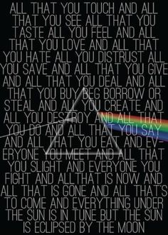 Eclipse lyrics off Dark Side of the Moon-Pink Floyd
