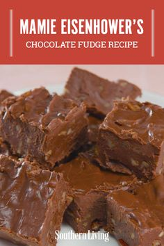 This fudge is considerably less persnickety than traditional cooked fudge! It appeared previously under the name Million Dollar Fudge, but, this type of fudge is more often called Mamie Eisenhower's Fudge or simply Mamie's Fudge. Homemade Fudge, Homemade Candies, Homemade Marshmallows, 100 Calories, Chocolate Desserts, Chocolate Chips, Best Chocolate Fudge Recipes, Easy Chocolate Fudge, Chocolate Cake