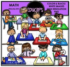 A collection of kids engaged in different math activities including: using 3d shapes, protractor, calculator, fractions, blocks, dice, ruler, money, yard stick, weight, graphs & tallies, compass and clock.This set contains all of the images shown.26 images (13 in color and the same 13 in B&W)Images saved at 300dpi in PNG files.For personal or commercial use.Download preview for TOU.This is a zip file. $6.00