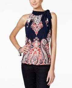 INC International Concepts Printed Tie-Neck Halter Top, Only at Macy's