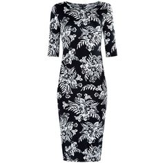 Black 1/2 Sleeve Floral Print Midi Dress (19 BRL) ❤ liked on Polyvore featuring dresses, floral printed dress, long-sleeve midi dresses, sleeved dresses, botanical dress and midi dress