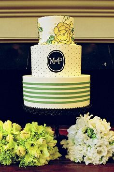 black and white, and green stripes, dots, monogrammed wedding cake