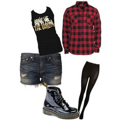 The shirts but with black skinny jeans and red vans