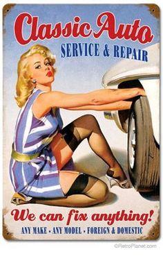 TIN SIGN Missing Tools Auto Mechanic Pin-up Girl Metal Hot Garage Shop A935