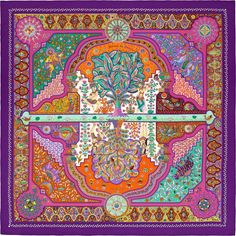 Purple and multicolor Hermès cashmere and silk-blend 'Aux Portes Du Palais' motif shawl with hand-rolled edges. Turbans, Turquoise Rose, Indian Folk Art, 20th Century Fashion, Cashmere Shawl, Hermes Paris, Silk Shawl, Scarf Design, Silk Scarves