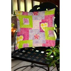 Thumbprintz Hearts and Flowers Indoor/Outdoor Pillow, Multicolor