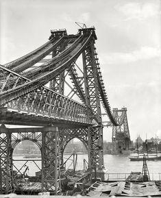"New York circa 1902. ""New East River bridge from Brooklyn."" The Williamsburg Bridge under construction. Detroit Publishing Company."