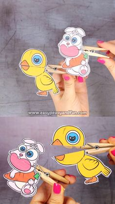 Chick and Bunny Clothespin Puppets for Kids Welcome spring with this wonderful set of printable chick and bunny clothespin puppets. The post Chick and Bunny Clothespin Puppets for Kids appeared first on Pink Unicorn. Craft Projects For Kids, Easter Crafts For Kids, Craft Activities For Kids, Preschool Activities, Diy For Kids, Diy Projects, Craft Ideas, Puppets For Kids, Kids Origami