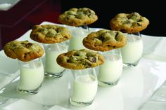 Big trend: Returning to comfort foods and nostalgic staples.  Milk and cookie shooters are a fun twist with our curved shooter glasses! www.culinarycrafts.com