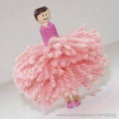 Pom Pom Ballerina Craft - day of Christmas- ladies dancing Ballet Crafts, Dance Crafts, Ballerina Doll, Ballerina Birthday, Little Girl Ballet, Crafts For Kids, Arts And Crafts, Operation Christmas Child, Clothespin Dolls