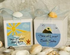 Sea of Love Boxed Bath Salt Wedding Favor with Personalized Label features a w Soap Wedding Favors, Bridal Shower Favors, Sod Installation, Aqua Blue Color, Love Box, Organza Ribbon, Favor Boxes, Bath Salts, Unique Gifts