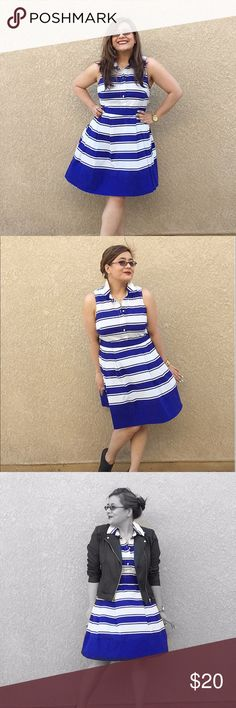 """MILLY for Kohls striped fit and flare dress Size 14 but fit me when I was a typical 12 (see pics). In excellent condition; just selling it because it doesn't work with my current style aesthetic. I've included a pic from the look book but I'm clearly not that skinny. 😂 I've marked it as a midi but could be a mini depending on your height. For reference, I'm 5'1"""". MILLY Dresses Midi"""
