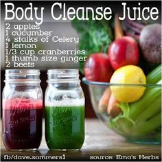 BODY CLEANSE JUICE:  Cucumbers and celery are natural diuretics and help   with cleaning out the kidneys. Beets are great for liver cleansing and strengthening the blood. Lemons, ginger and apples aid in protecting and healing the body. They help cleanse the entire body. Cranberries are good for cleansing the bladder and kidneys.