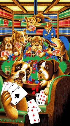 Framed ready to hang Neon LED  Sign Texas hold em dogs playing poker chips