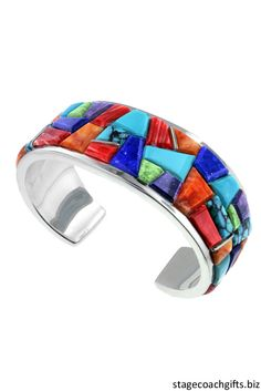 Beautiful Native American Handmade David Rosales Bracelet. This has #turquoise, spiny oyster shell, lapis, sugilite, and gaspeite all inlaid in sterling silver. So colorful and amazing! http://stagecoachgifts.biz/collections/jewelry
