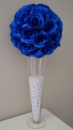 Pomanders azul flor bola centro de mesa de boda por KimeeKouture