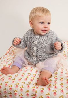 Baby Lace Cardigan in Red Heart Soft Baby Steps Solids - LW4066