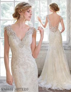 A combination of modern romance and vintage glamour, Elison is a stunning jeweled lace sheath wedding dress.