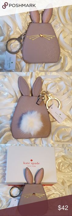 ♠️🐰Kate Spade Hop To It bunny keychain fob NWT Kate Spade Hop To It bunny keychain/key fob. This keychain is adorable,and has a fluffy white cotton tail on the back,with soft velvety ears. Keychain also comes with Kate Spade box. Bundle with other Kate Spade items in my closet! I ship same day or next day,and I accept all reasonable offers! kate spade Accessories