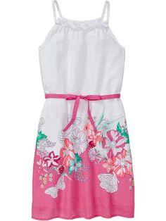 Girls Printed Tie-Belt Sundresses
