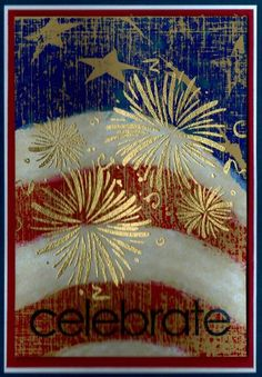handmade card: Fourth of July by MBoggs  ... big flag in red, white and blue with distressing ... bursting fireworks heat embossed on top ...  like it!