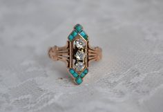 Turquoise and Diamond Victorian Ring  (My dream ring sold).