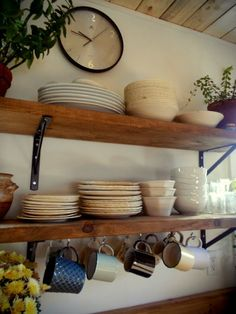 "Can't wait until we can rip out our cabinets and make these shelves! ""Opt for open shelving instead of upper cabinets. The space will feel lighter, more open + expansive. Boho Kitchen, Kitchen Redo, Rustic Kitchen, Country Kitchen, New Kitchen, Kitchen Remodel, Kitchen Small, Kitchen Ideas, Wooden Kitchen"