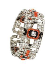 Art Déco bracelet diamants, corail, onyx noir, et platine