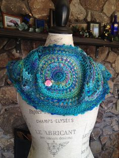 Unusual Mermaid's Garden Cowl, knitted in circles,       using hand in silk yarns and pretty ribbons to add a Caribbean charm to your day.