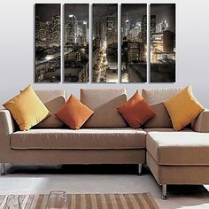 Stretched Canvas Print Art Landscape City in Night Set of 5 – USD $ 89.99