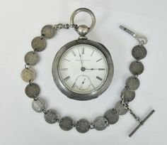 19th C. Silver Pocket Watch, US Coin Chain, Elgin : Lot 0117