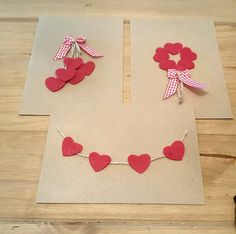Handmade Cards with Hearts and Twine