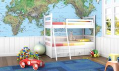 Removable World Map Wallpaper Mural by Pickawall on Etsy Customizable! The possibilities are endlesssss White Bunk Beds, World Map Wallpaper, Bunk Bed Designs, Custom Wallpaper, Wallpaper Ideas, Kids Bedroom, Kids Rooms, Boy Room, Wall Murals