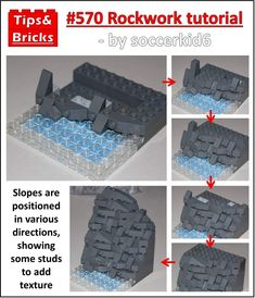 TECHNIQUES: Rockwork tutorial We get often get asked for techniques to create realistic and natural-looking rockwork, because the… Lego Winter, Lego Design, Bateau Lego, Pokemon Lego, Construction Lego, Lego Furniture, Lego Challenge, Lego Activities, Lego Craft
