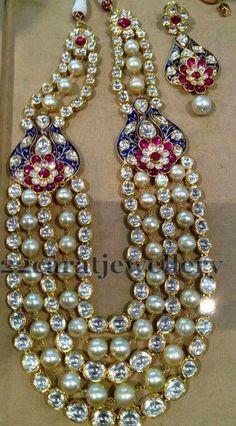 Jewellery Designs: Pearls and Jadau Polki Long Haar
