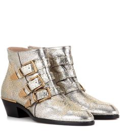 CHLOÉ - Susanna leather ankle boots - Chloé's famous Susanna ankle boot is back in an updated colourway. This glittery grey pair has gold hardware and contrasting black sole. This wardrobe staple will be a go-to now and forever. - @ www.mytheresa.com