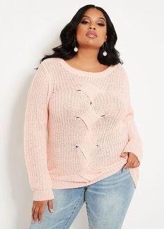 4d4eab1a8a5 Ashley Stewart cable front sweater.  ashleystewart  plussize   plussizefashion Crystal Rose