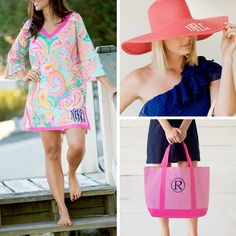 "Beach Ready Bundle!! This bundle makes it easy to get summer/vacation ready!! It is perfect for anyone who loves to look cute and spend time at the pool or beach. Bundle includes three, personalized ""sunning"" essentials. Multiple thread and font choices. This bundle has a value of close to $100. FREE SHIPPING. Please allow 5-7 days for production."