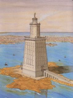 An artist's depiction of the Lighthouse of Alexandria, resting on the isle of Pharos