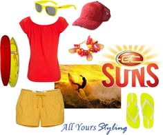 """Gold Coast Suns"" by allyours-styling on Polyvore This one's for you, Jo ;)"