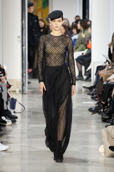 Fashion Week Paris Fall/Winter 2020 look 39 from the Akris collection womenswear Fashion Week, Skirt Fashion, Fashion Show, Face Wrap, Stretch Pencil Skirt, Ribbed Cardigan, Velvet Jacket, Silk Crepe, Wrap Style