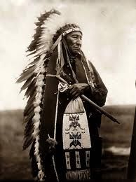 Dakota Sioux Chief with Head Dress and Wampum