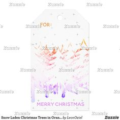 Snow Laden Christmas Trees in Orange Violet White Gift Tags Christmas Trees, Christmas Holidays, Christmas Gifts, Wedding Color Schemes, Wedding Colors, Business Supplies, Vintage Gifts, Invitation Cards, Gift Tags