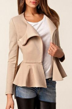 asymmetrical zipped peplum and leather
